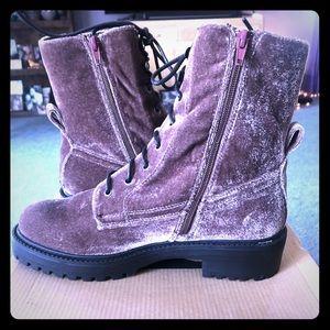 Mauve Velvet Ankle Boots